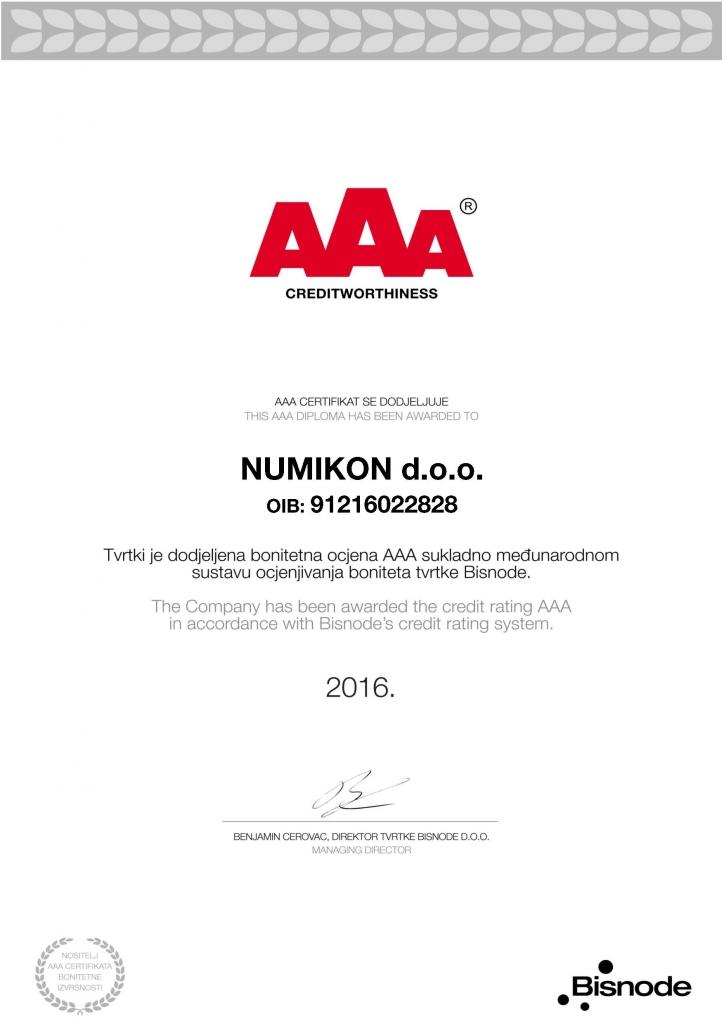 NUMIKON d o o _Certifikat bonitetne izvrsnosti 2016-page-001