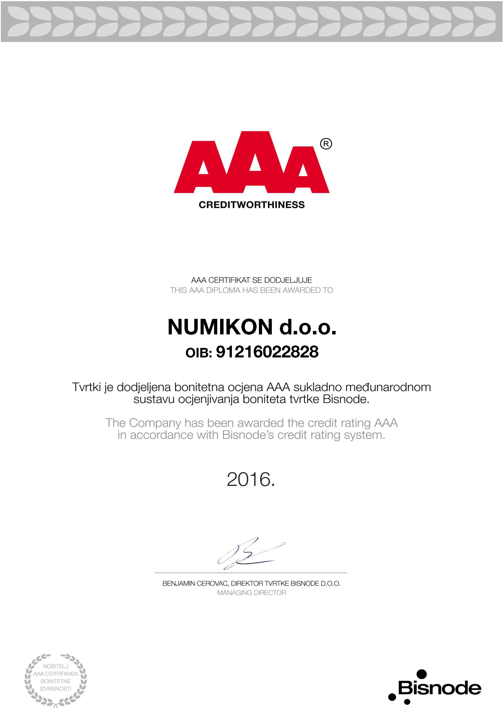 aaa diploma has been awarded to company d o o certifikat bonitetne izvrsnosti 2016 page 001